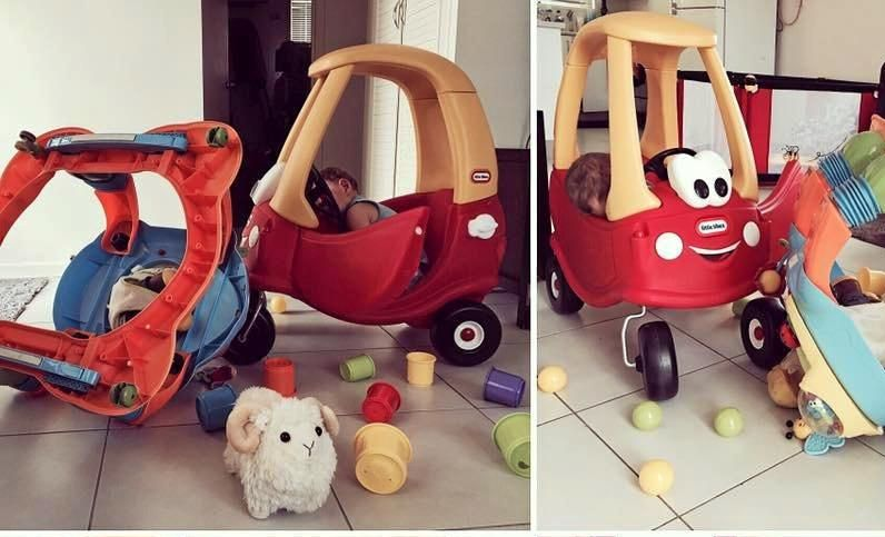Teleasha Cameron shared photos of her son Xavier in a 'crash' promoting a serious message about road safety.