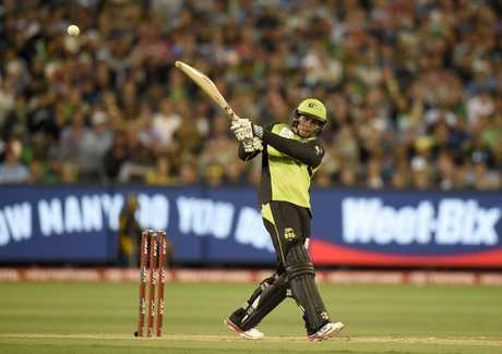 Usman Khawaja hits out for the Sydney Thunder during its BBL final against the Melbourne Stars  at the MCG  last January.