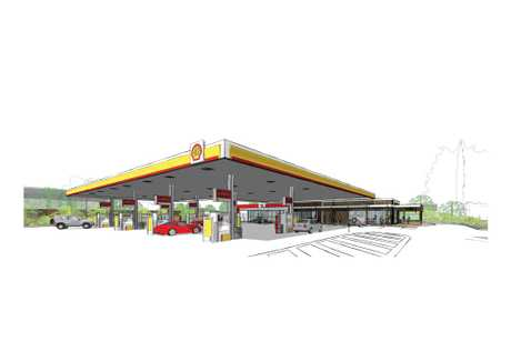 An artist's impression of the service station on the corner of Alderley and Ruthven Sts