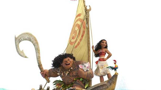 The characters Maui and Moana in a scene from the movie Moana.
