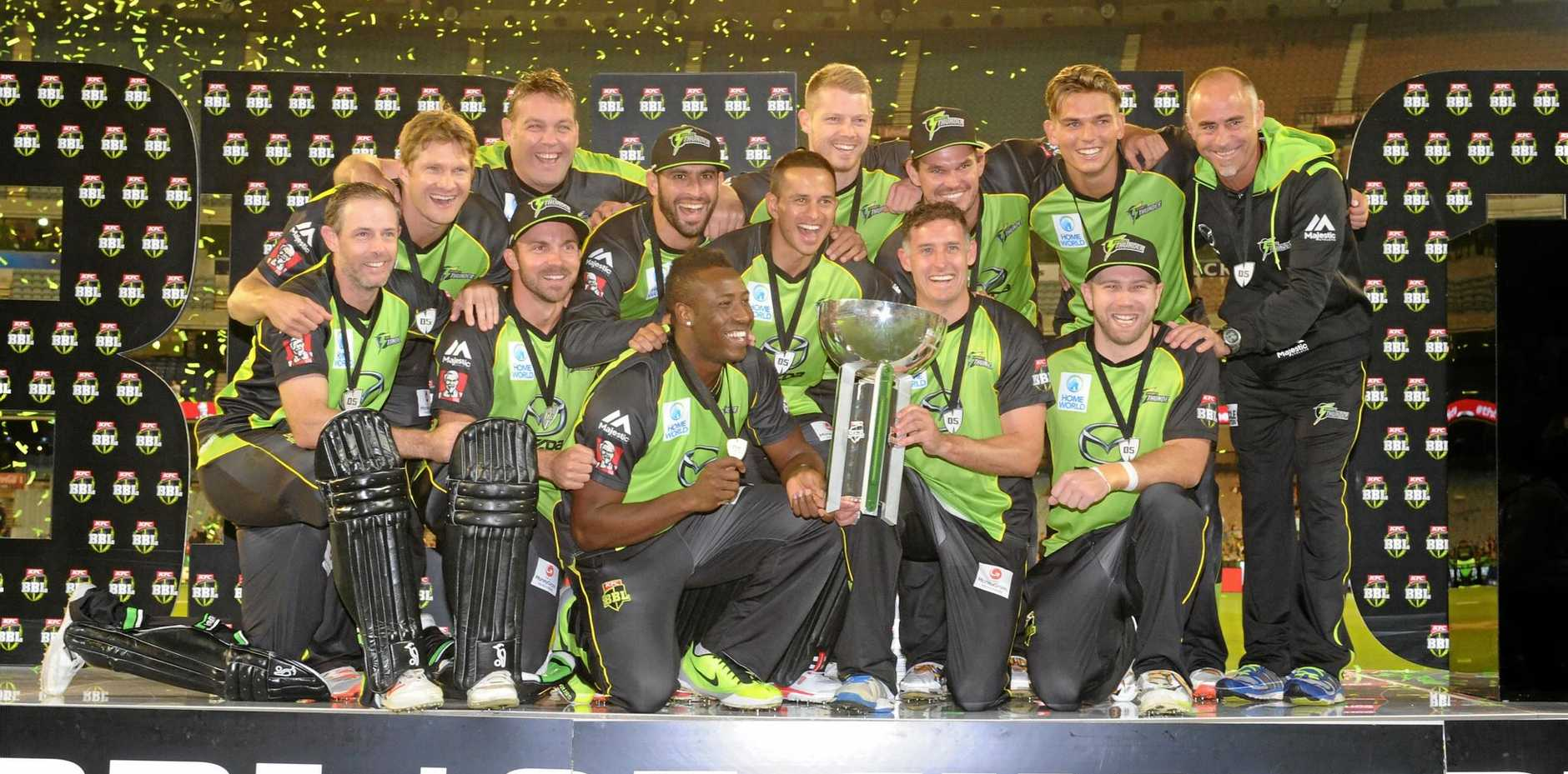 The Sydney Thunder celebrate their win in last season's Big Bash.