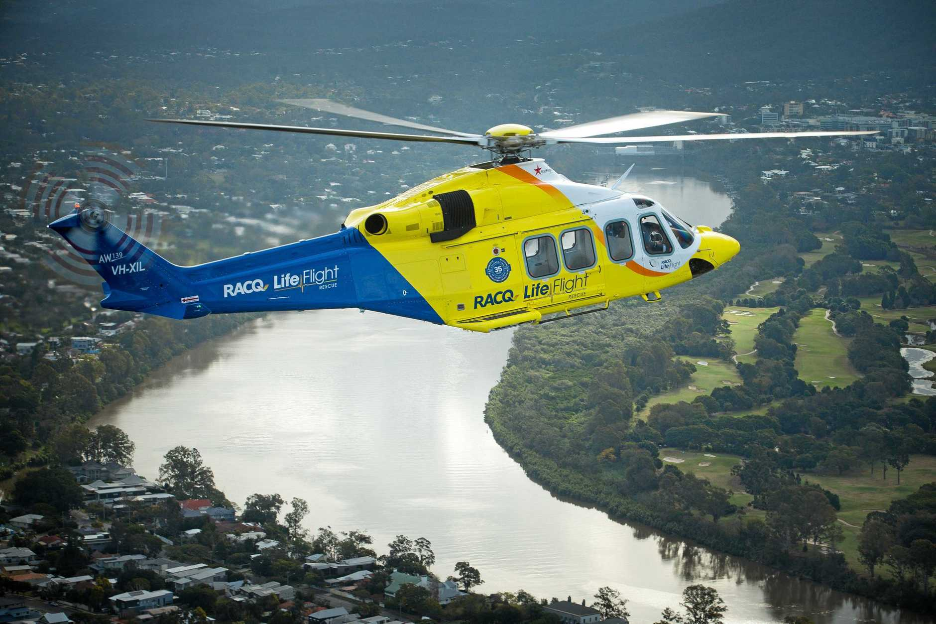 ONE of the RACQ LifeFlight helicopters on its way to a job.