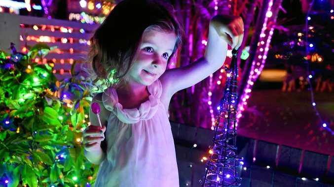 Hervey Bay's Christmas Street - Hayman Court - Evie Nielsen enjoyed the lights with her cousins.