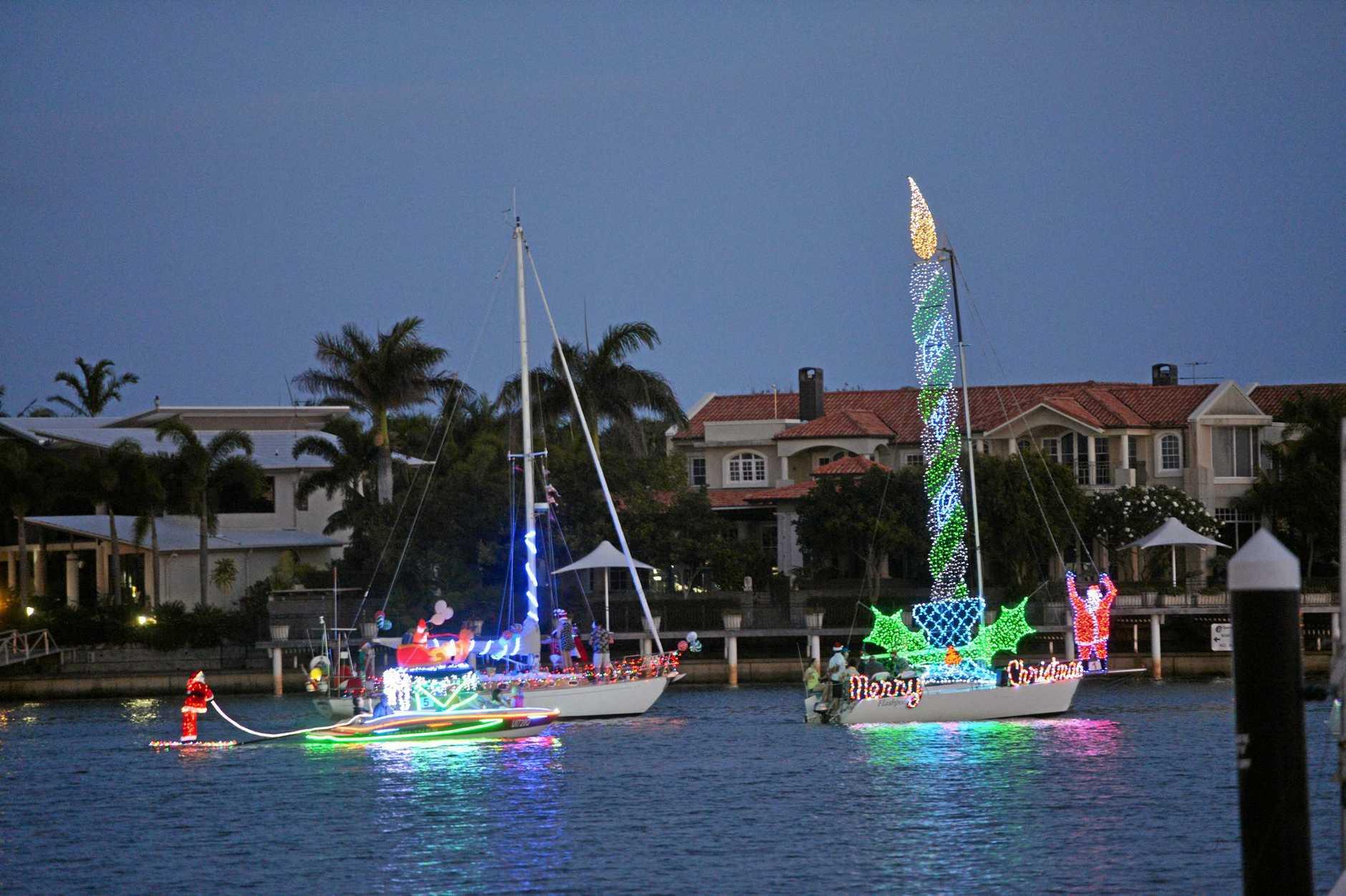 Boats at Mooloolaba for the Christmas boat parade.