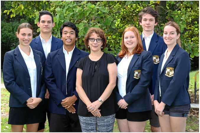 L to R: Chile Bainbridge, Jonty Thompson, Paolo Newell (school captain) Ms Donna Pearson (principal) Azlan Currie (school captain), Oskar Fletcher, Cherry O'Brien.