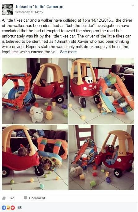 Teleasha Cameron shared a photo of a crash scene that involved her 10-month-old son Xavier on Facebook.