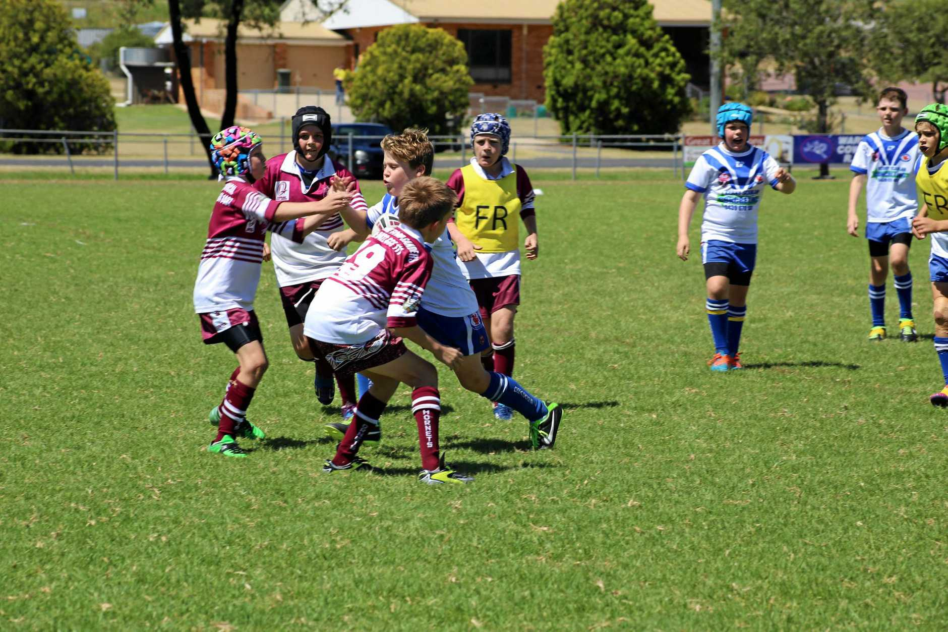 Collegians player Campbell Ridley runs into the Eastern Suburbs defence in a WDJRL game this year.