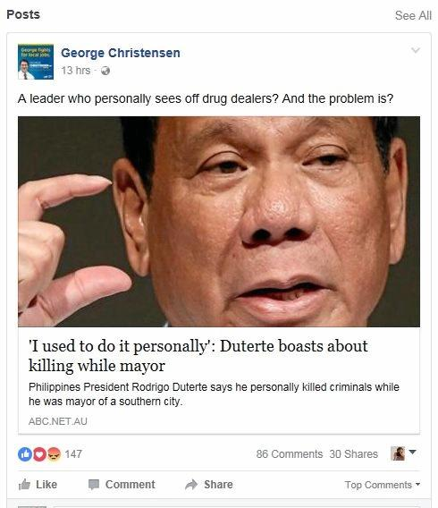 Dawson MP George Christensen's take on Filipino Rodrigo Duterte and his controversial (and reportedly deadly) war on drugs.