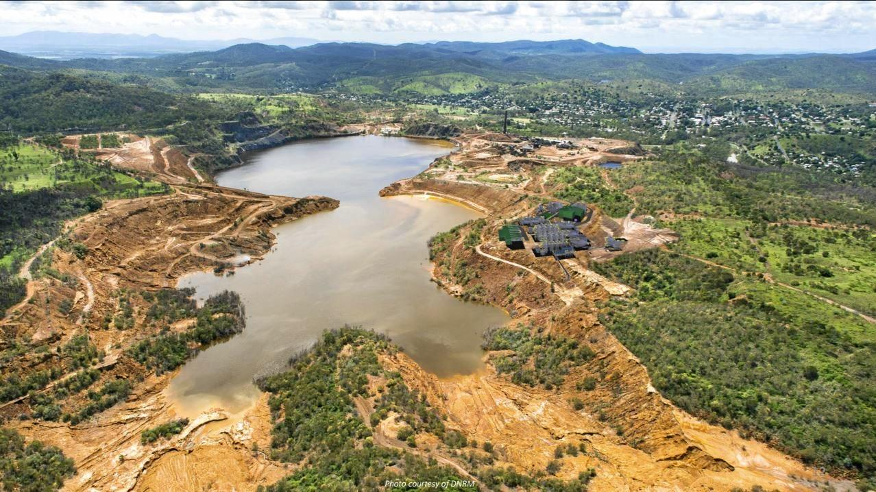 BIG PICTURE: Department of Natural Resources and Mines (DNRM) aerial view of the Mount Morgan mine site.
