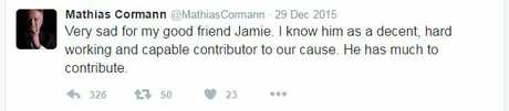 Mathias Cormann had this to say on Twitter when Jamie Briggs resigned from the federal ministry in December 2015 over allegations of sexual harassment.