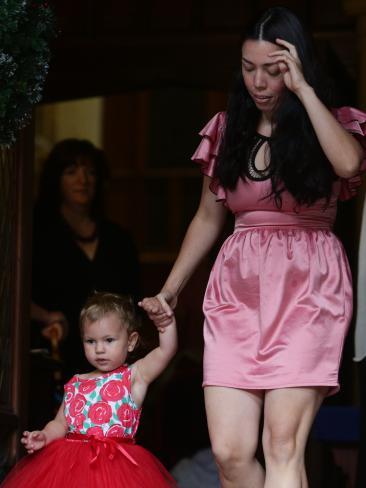 Lindt Cafe siege survivor Harriette Denny with daughter Billie at the Sydney Siege anniversary memorial on Thursday.