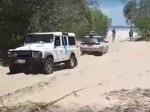 'Brake! Brake!' Beach driving goes wrong