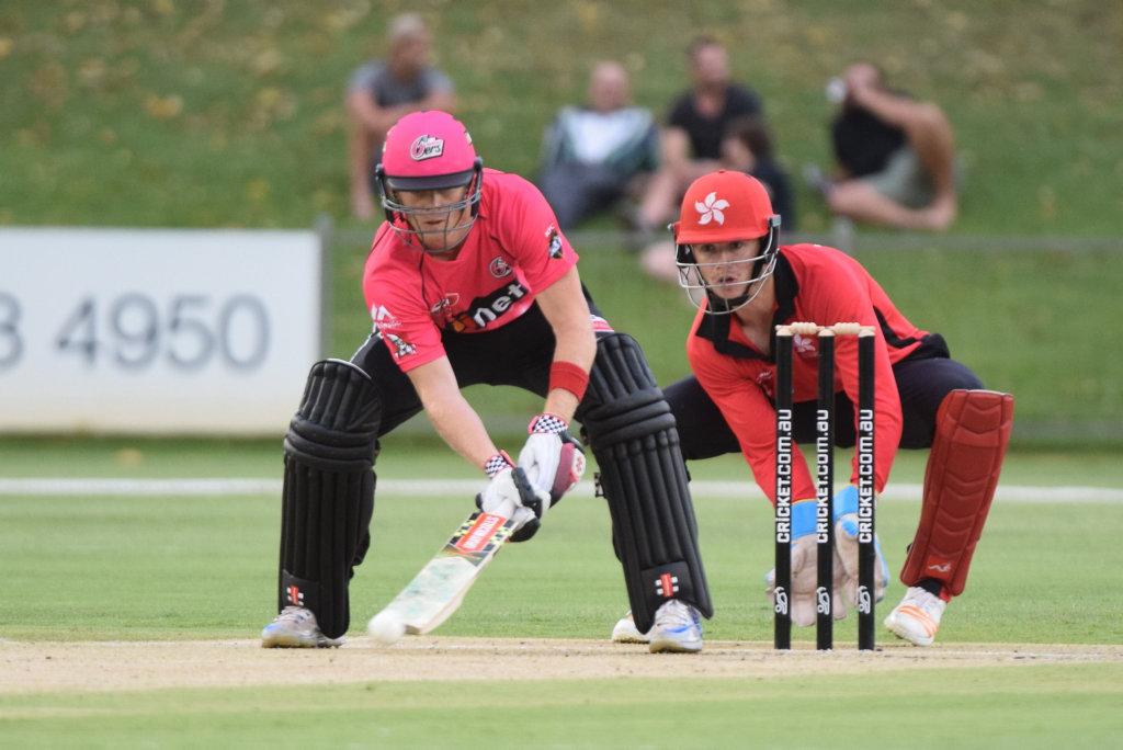 Sydney Sixers batsman Sam Billings plays a ramp shot in the Twenty20 match against Hong Kong at the C.ex Coffs International Stadium. 16 December 20