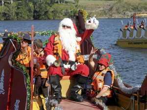 Santa stops by the Big River Ski Lodge