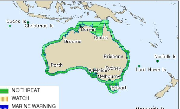 The Bureau of Meteorology has issued a tsunami update saying there is no threat to Australia