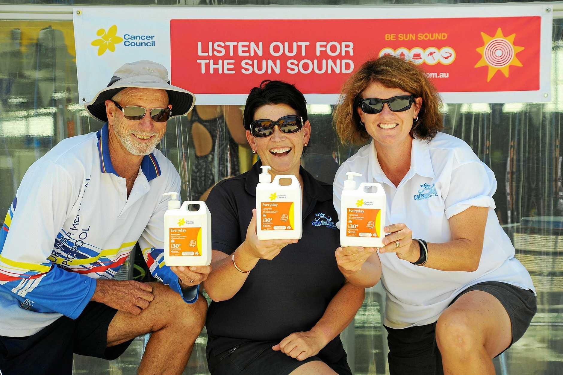 SLIP, SLOP SLAP: Coffs Harbour Memorial Pool Lifeguard Jeff Porter, manager Kerri-Ann McLaughlin and swim coach Kim Roach call for sun safety this week.