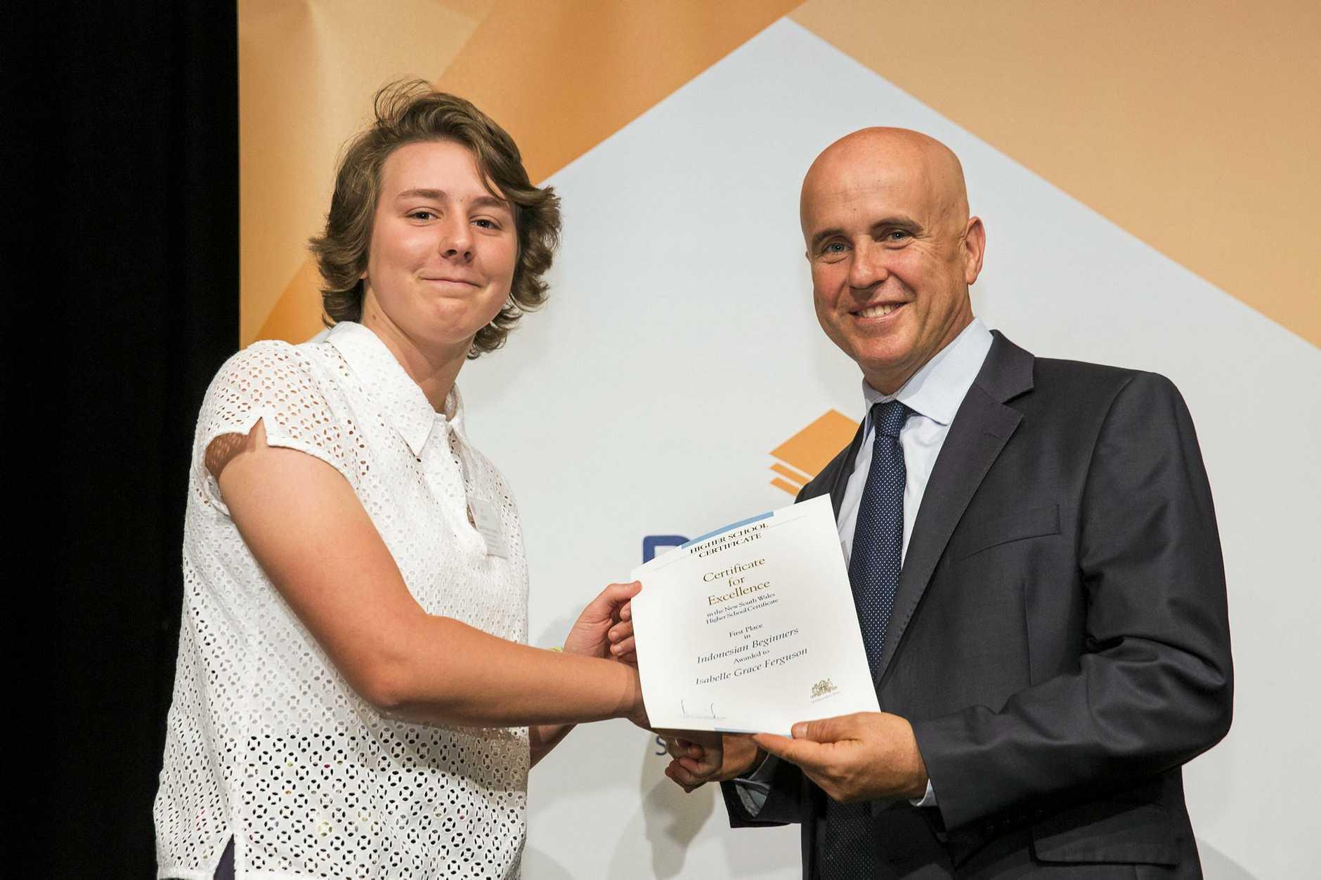 HARD-WORKER: Isabelle Ferguson receives praise from Education Minister Adrian Piccoli.