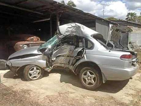 The wreck of Jake Dunn's car was recovered after his fatal crash on the Maleny Stanley River Rd.