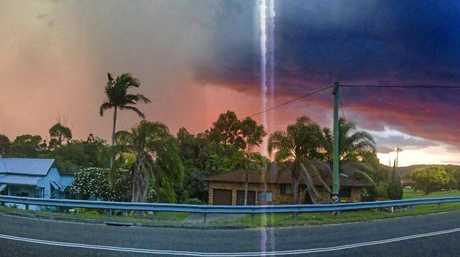 Daily Examiner photographer Adam Hourigan snapped this picture of the colourful thunderstorm hitting Maclean. The white streak is lightning striking and overloading the sensor of the phone as the photo was being taken.