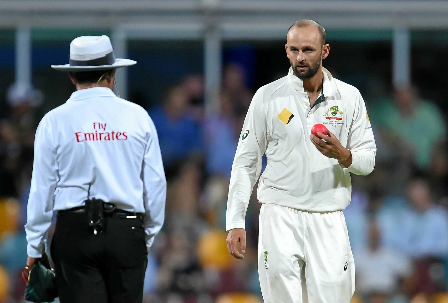 Australian bowler Nathan Lyon looks to the umpire at the Gabba.