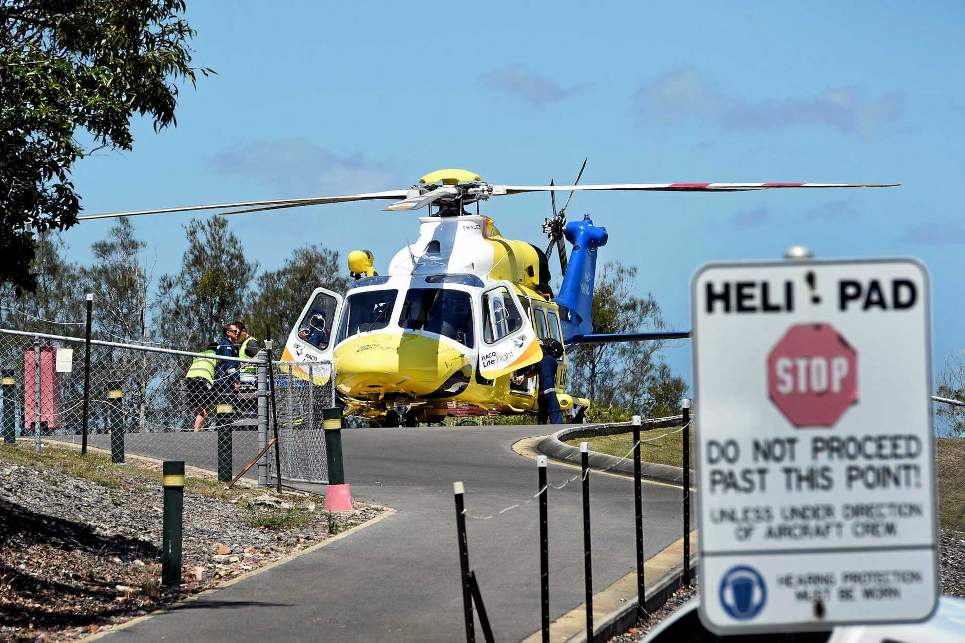 A 59-year-old man was transported to Hervey Bay Hospital by the RACQ Life Flight helicopter on Saturday afternoon.