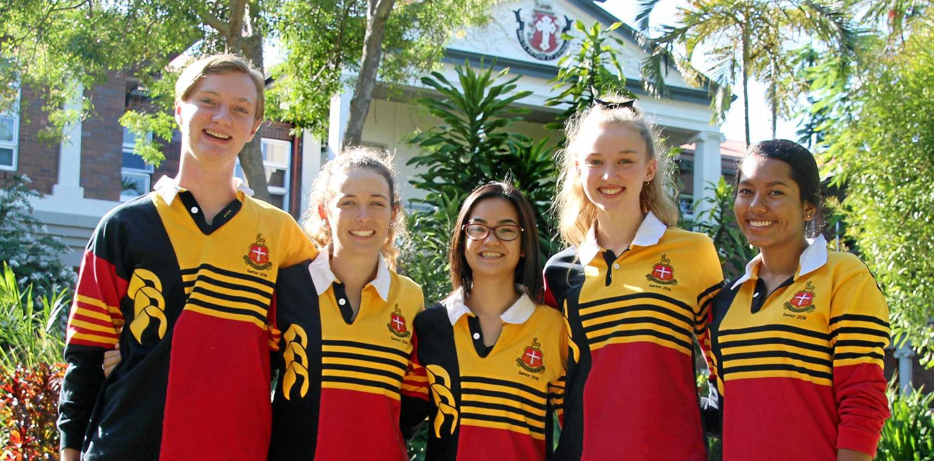 The Rockhampton Grammar School's OP 1 students Tomas Beak, Sarah MacKenzie, Emma Wong, Gabrielle Matthews and Aniqa Hussain celebrate their results on Saturday.
