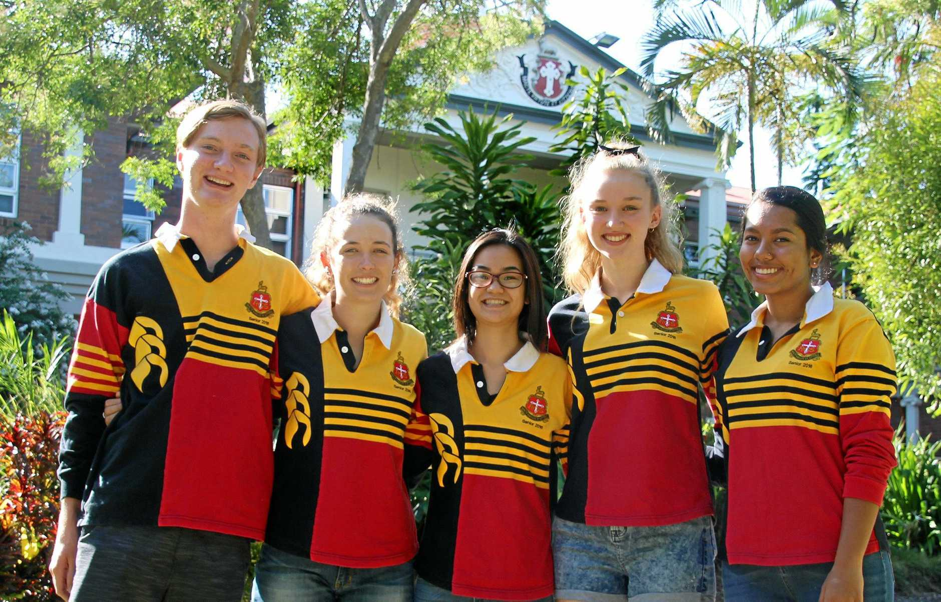 The Rockhampton Grammar School's OP 1 students Tomas Beak, Sarah MacKenzie, Emma Wong, Gabrielle Matthews and Aniqa Hussain celebrate their results on Saturday.