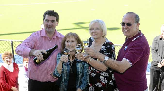 CHEERS: Then CVC mayor Richie Williamson and member for Page Janelle Saffin celebrate official re-opening of the Legends Field with association executives Cheryl Kinnane and Bruce Carle back in 2012.