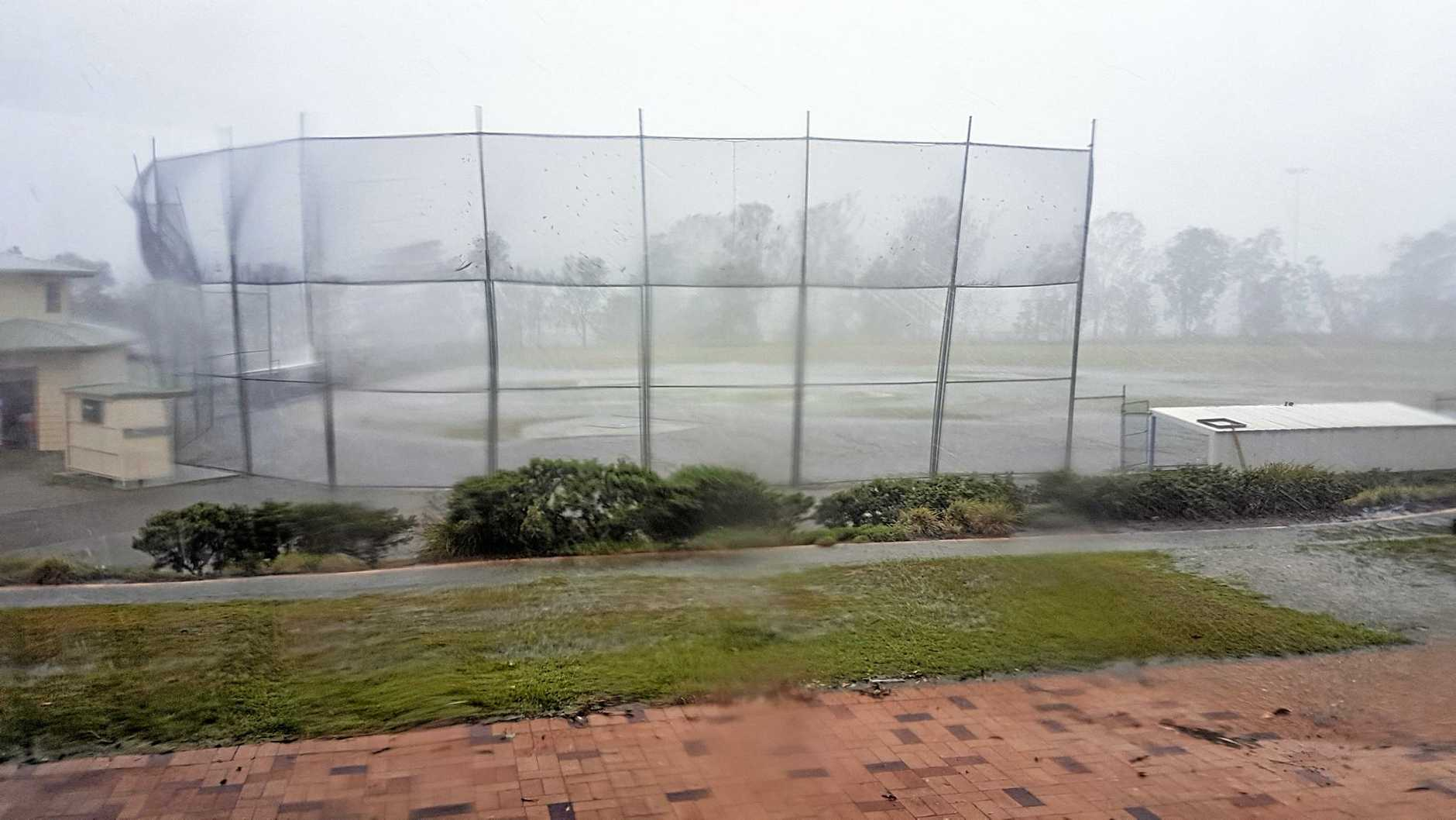 A storm tore through Ipswich on Sunday causing an end to the Musketeers v Wests baseball game at Tivoli.