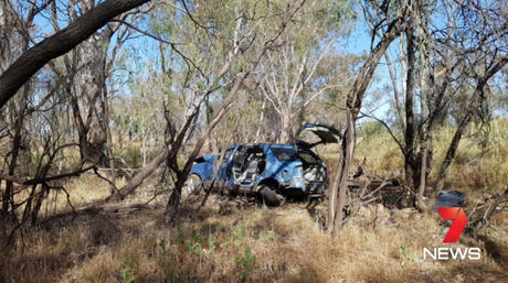 The crash scene on Dalby – Kogan Rd where a 14-year-old girl was badly injured. Photo 7 News Toowoomba