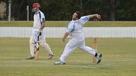 Iluka bowler Zac Newton during the LCCA match between Harwood and Iluka/Brushgrove at Harwood Oval on Saturday 22nd October 2016.