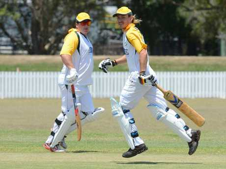 Wanderers batsman Alex Robison (left) and Jack Plater are competing in the LCCA match between Harwood and Wanderers at Harwood Oval on Saturday 17th December, 2016.