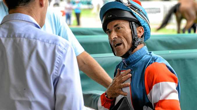 Jockey Robbie Fradd chats about his winning ride aboard Huka Pele in the Jon Kent Lawyers Maiden Plate on Friday.