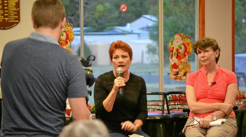 Pauline Hanson with Dr Geralyn McCarron addresses the CSG meeting at Chinchilla Bowls Club on Wednesday night.