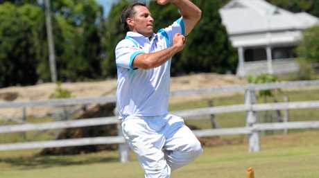 Coutts bowler Adam Elliott is competing in the CRCA premier league match between Easts and Coutts at Small Park Ulmarra on Saturday, 17th December, 2016.
