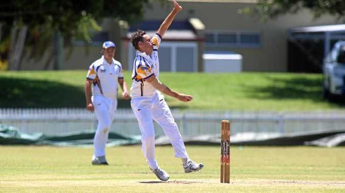 Brendan Mitchell during a Ballina Bears and Marist Brothers cricket match.