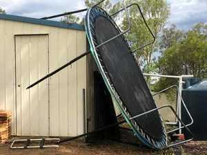 WATCH: Wind, flying trampoline and car park flooding