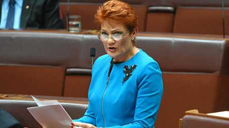 One Nation leader Senator Pauline Hanson makes her maiden speech in the Senate in Canberra, Wednesday, Sept. 14, 2016. (AAP Image/Mick Tsikas) NO ARCHIVING