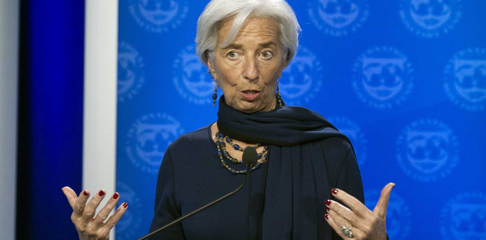International Monetary Fund (IMF) Managing Director Christine Lagarde makes a statement after the IMF's Executive Board reaffirmed it's full confidence in her Monday, Dec. 19, 2016, in Washington. A special French court has declalred Lagarde guilty of criminal negligence in a long-running arbitration case. (AP Photo/Cliff Owen)