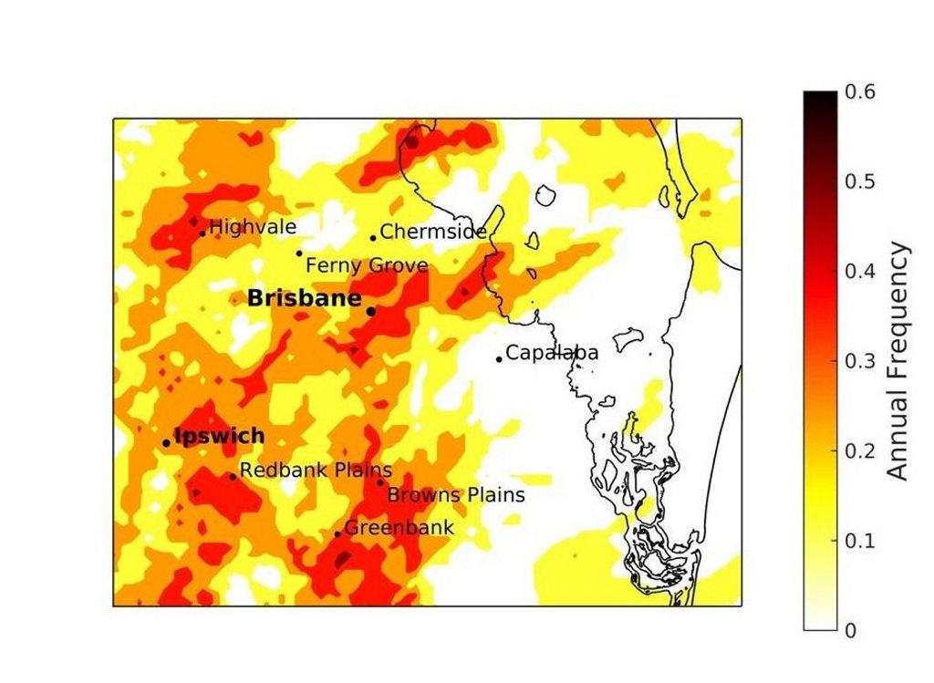 Dr Soderholm's radar-derived hailstorm climatology of Brisbane and surrounds chart.