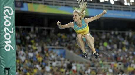 Alana Boyd competes in the women's pole vault final at Rio, where she finished fourth.
