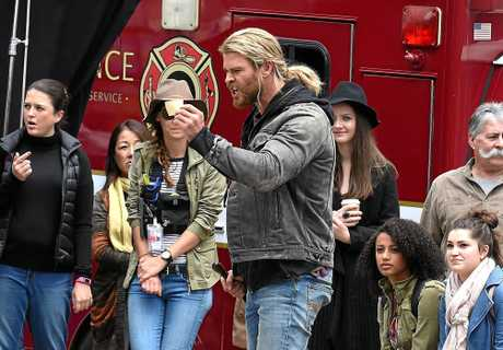 Hollywood actor Chris Hemsworth acts a scene during the filming of the movie Thor: Ragnarok in Brisbane.