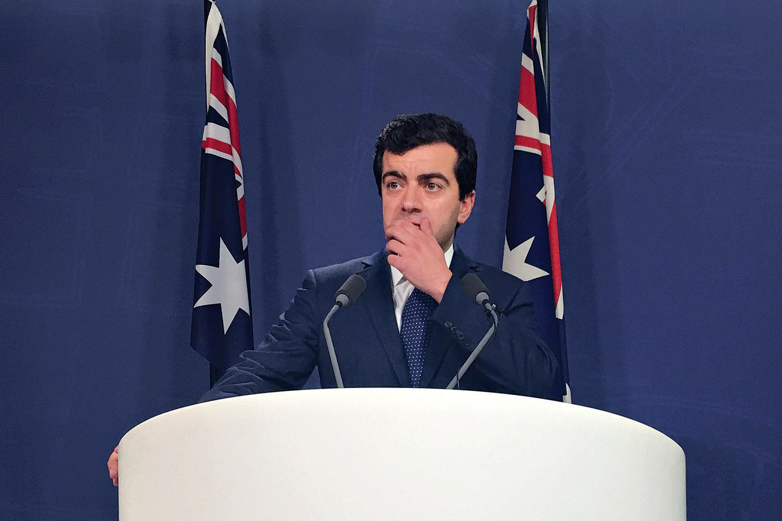 Labor Senator Sam Dastyari speaks to the media during a press conference over