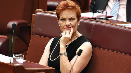 One Nation leader Senator Pauline Hanson during Question Time in the Senate.