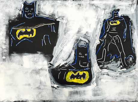 Nathan Gooley: Batman 2015, mixed media on paper. Image courtesy the artist.