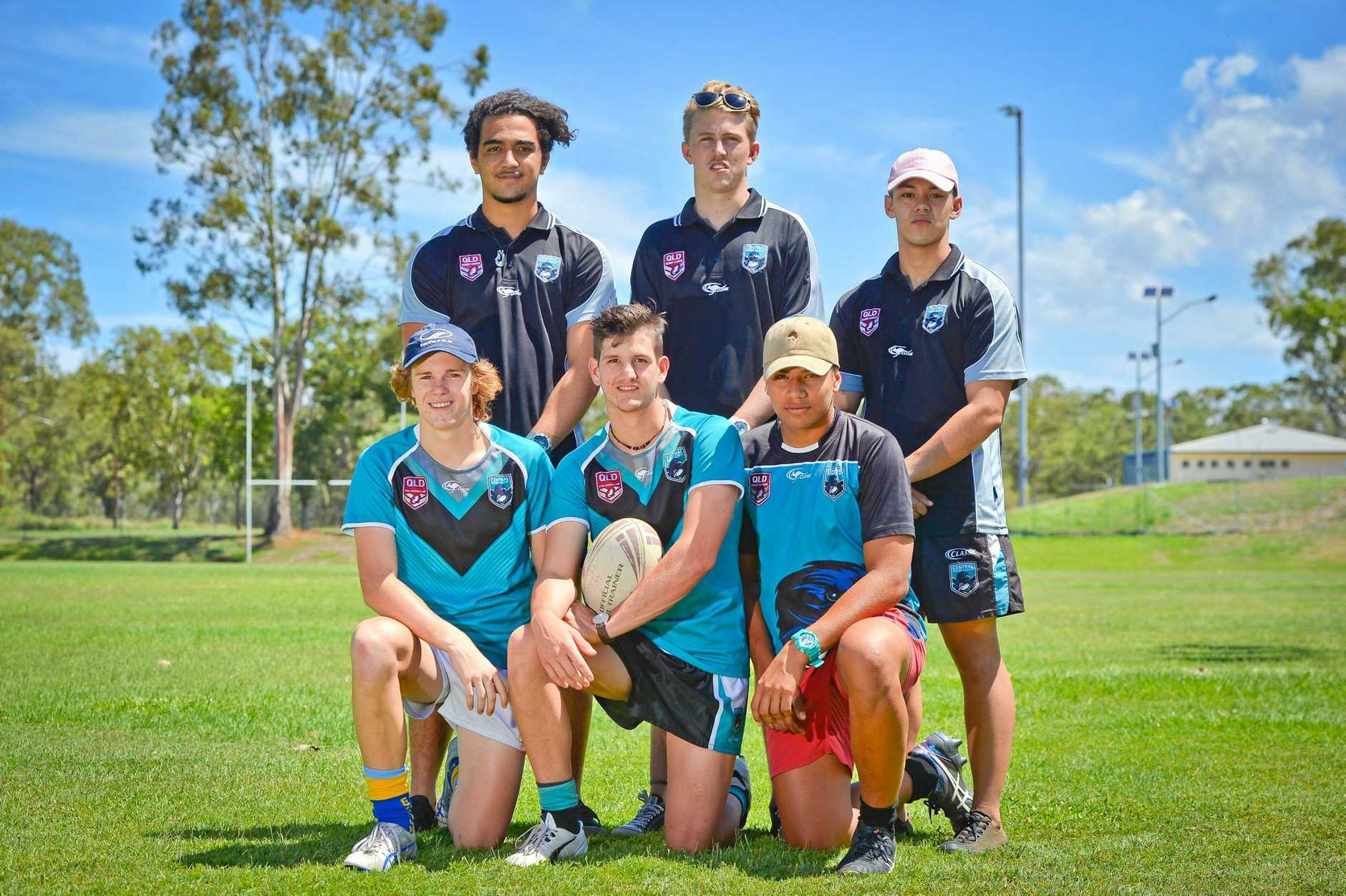 TALENTED: Jai Parter, Mason Collette, James Cody, Will Simpson, Jacob Jahnke with captain Logan Pengelly in the middle. Absent were Ryan Fett and Lachlan Andrews. All eight players are in the Central Crows U18 Mal Meninga squad.