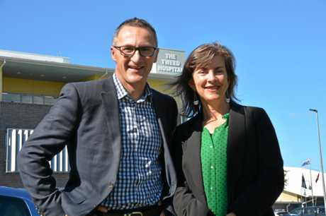 Greens leader Richard Di Natale with Dawn Walker pledging $100 million for Tweed Hospital during the 2016 Federal election campaign.
