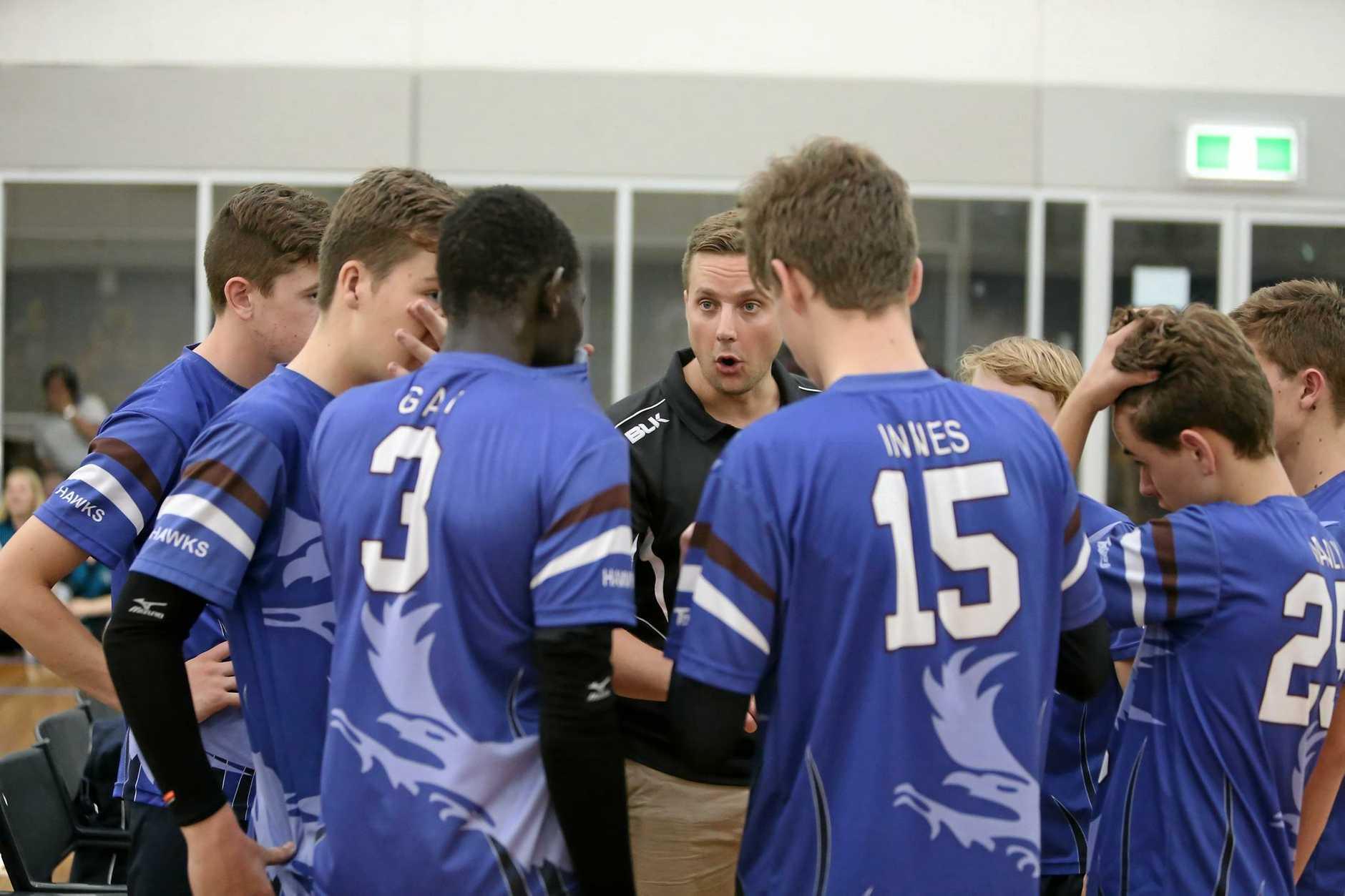 Harristown Hawks under 16 boys (from left) Jake Jarick, Bevan Fry, Gai Gai, Jamie Krisanski (Coach), Jack Innes, Russell Chambers, Zach Manly and Trent Knight.