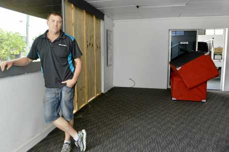 SMASHED: Matt Hart's business Tint-a-Car West Ipswich was hit by the storm on Sunday afternoon.
