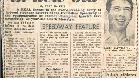 A newspaper article about Garth and his return to racing after a three-year break, published in 1964.